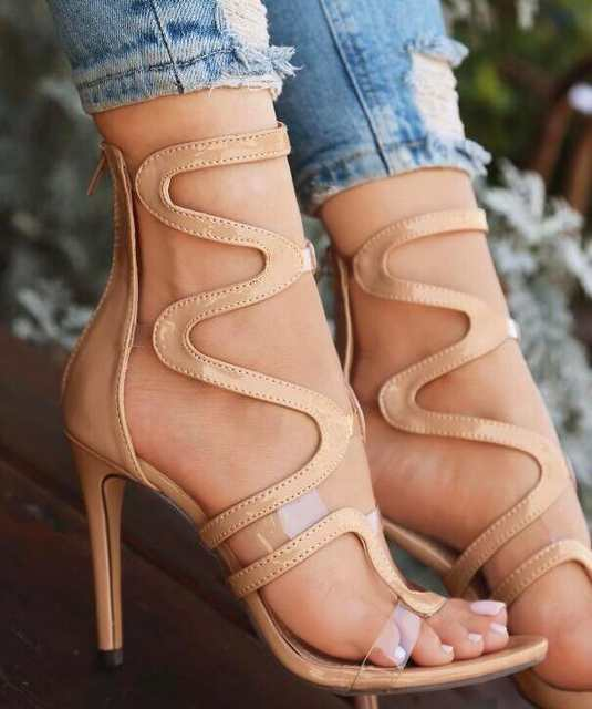 002a28c9985 Online Shop Clear Straps Patchwork Women Black Nude Patent Leather Sandals  Sexy Open Toe Ladies Cut Out High Heels Female Club Fashion Shoes