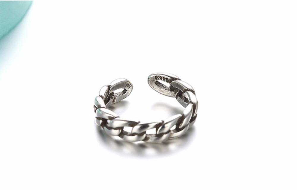 Kinitial Vintage Twist Chain Retro Rings For Women Open-end Ring With Cuban Chain Ring Fashion Finger Jewelry anillos 5
