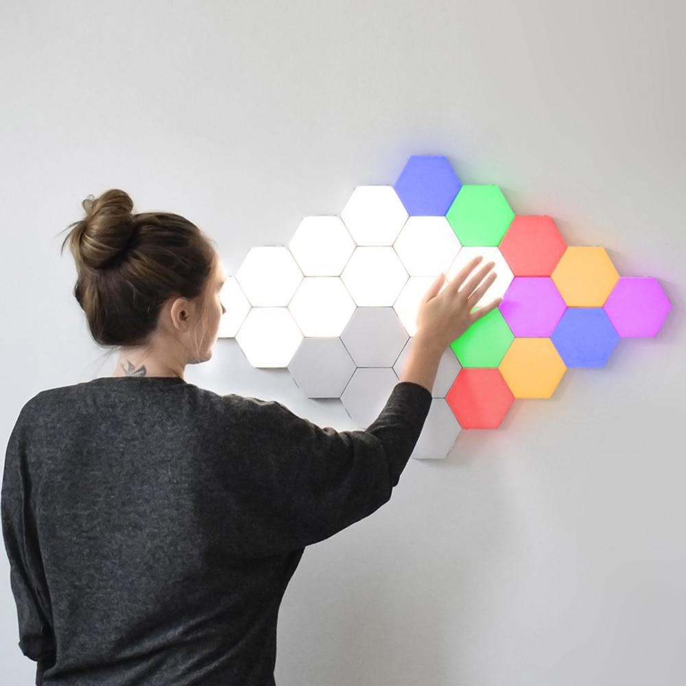 Новое Сенсорное освещение Красочные модульные квантовые лампы светодиодные ночники шестиугольный конструктор на магнитах лампы для декор...