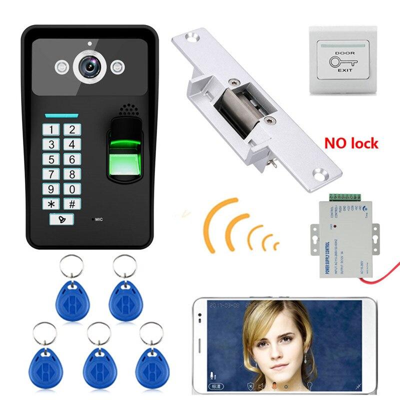 HD 720P Wireless WIFI RFID Password Fingerprint Recognition Video Door Phone Doorbell Intercom System+ Electric Strike Lock+ fingerprint recognition wifi wireless video door phone doorbell home intercom system ir rfid camera