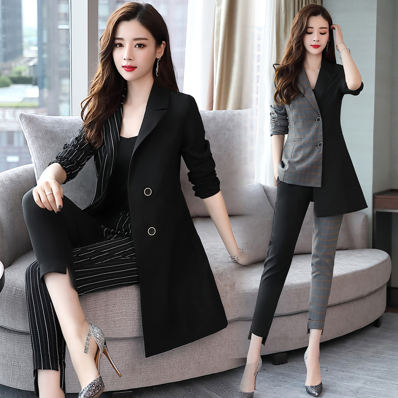 YASUGUOJI new 2019 fashion woman suits lady suit office irregularity patchwork two pieces pant suits for women korean suits set