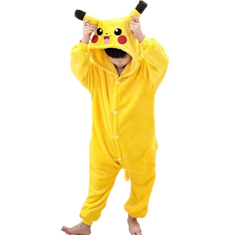 Image 2 - New Flannel pyjama baby girl pyjama set Pikachu Stitch cosplay Hooded christmas pijama infantil kids boys sleepwear 4 12 Year-in Pajama Sets from Mother & Kids