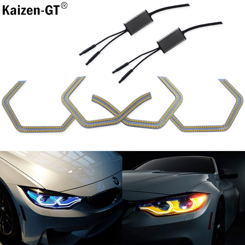 Kaizen-GT For BMW M4 Iconic Style Switchback Dual-Color LED Angel Eye Kit w/ Relay Wirings For BMW 2 3 4 5 Series Headlight 12V