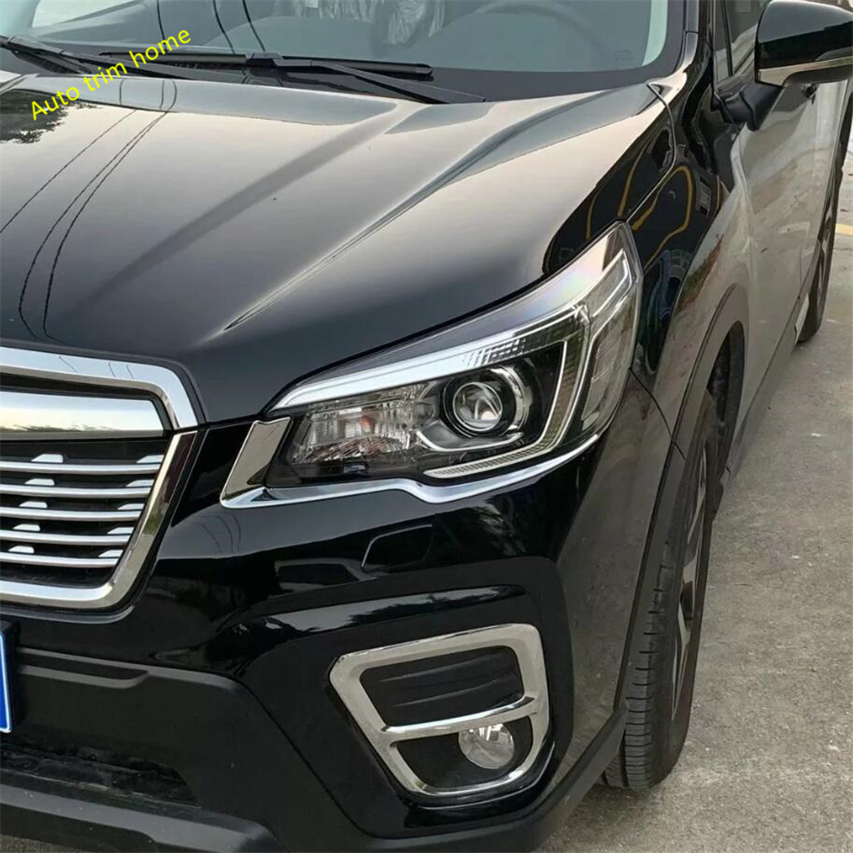 Lapetus Outside Front Head Lights Lamp Eyelid Eyebrow Strip Cover Trim 2 Pcs Fit For Subaru Forester 2019 ABS in Chromium Styling from Automobiles Motorcycles