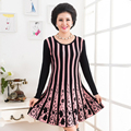 XL-XXXXL Women Sweater Dress Fashion Autumn New Plus Size O Neck Pullover Long Bottoming Knit Women Loose Stripe Dress J205