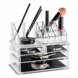 Acrílico maquiagem organizador caixas de armazenamento compõem organizador para jóias cosméticos escova organizador caso com 4 gavetas tipo #30894