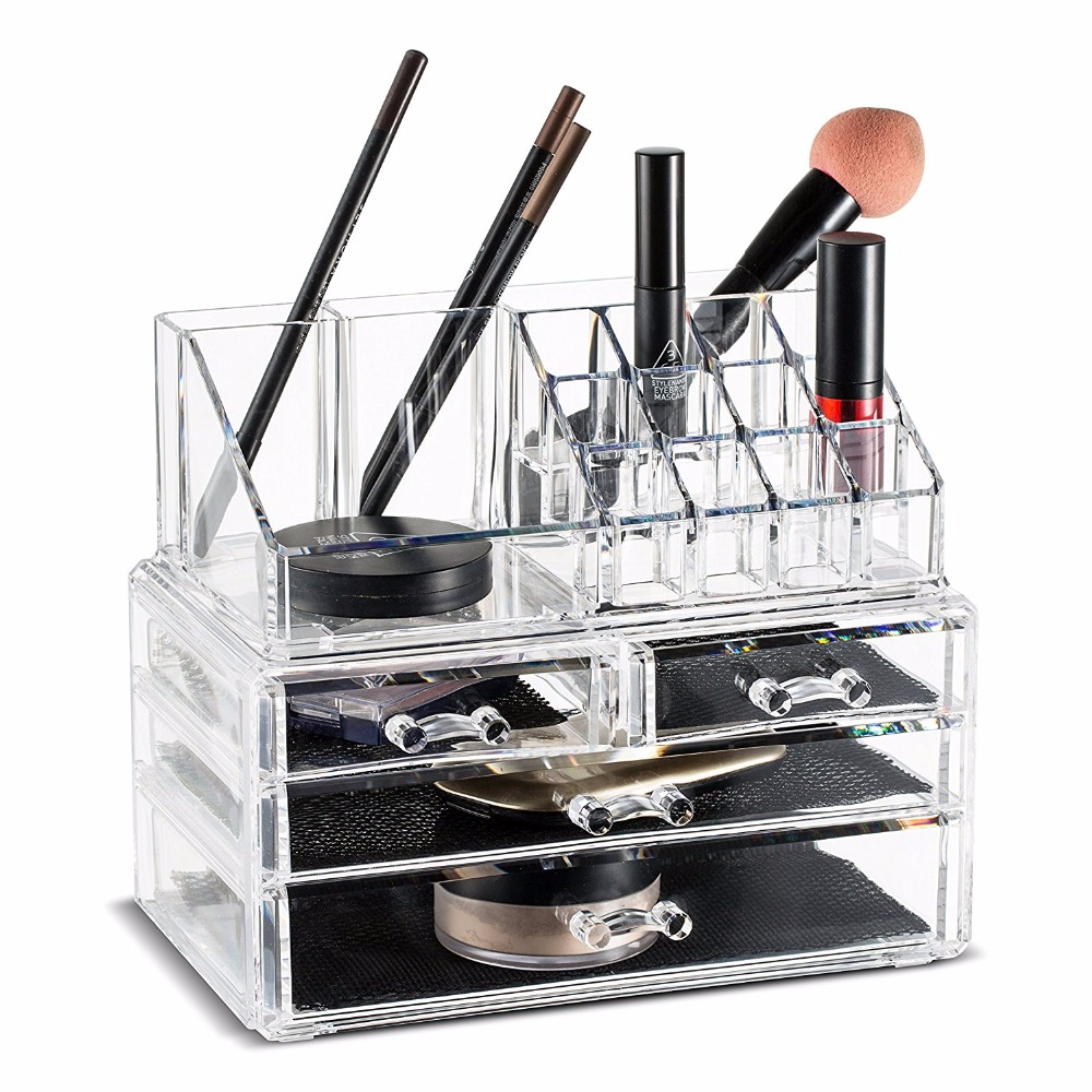 Acrylic Makeup Organizer Storage Boxes Make Up Organizer For Jewelry Cosmetics Brush Organizer Case with 4 Drawers type #30894