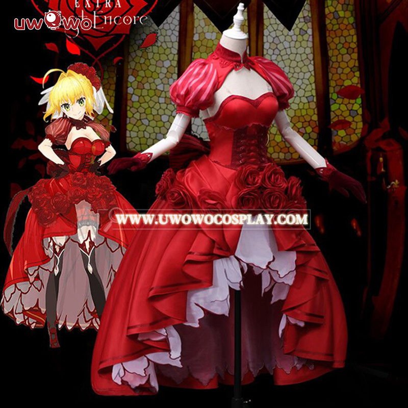 UWOWO Idol Empereur Nero Fate/EXTRA Cosplay Saber Nero Cosplay Anime Fate/EXTRA Costume Rouge Robe Femmes Costume sabre