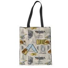 NOISYDESIGNS Reusable Bag Foldable Shopping Bags Border Collie Print Woman Large Handbags Custom Canvas Beach Bolsa Feminina
