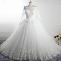 RSW1504 Trouwjurk Plus Size Ball Gown Puffy Tulle Skirt Lace Long Sleeve Off Shoulder Wedding Dress