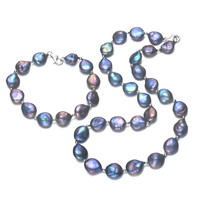 SNH 12 13mm Dyed peacock color coin shape Pearl Jewelry Set Natural Fresh Water Pearl Necklace and Bracelet