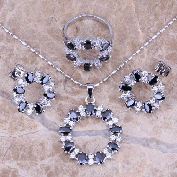 Terrific Black  Cubic Zirconia White CZ Silver Jewelry Sets Earrings Pendant Ring Size 6 / 7 / 8 / 9 / 10 / 11 / 12  S0145