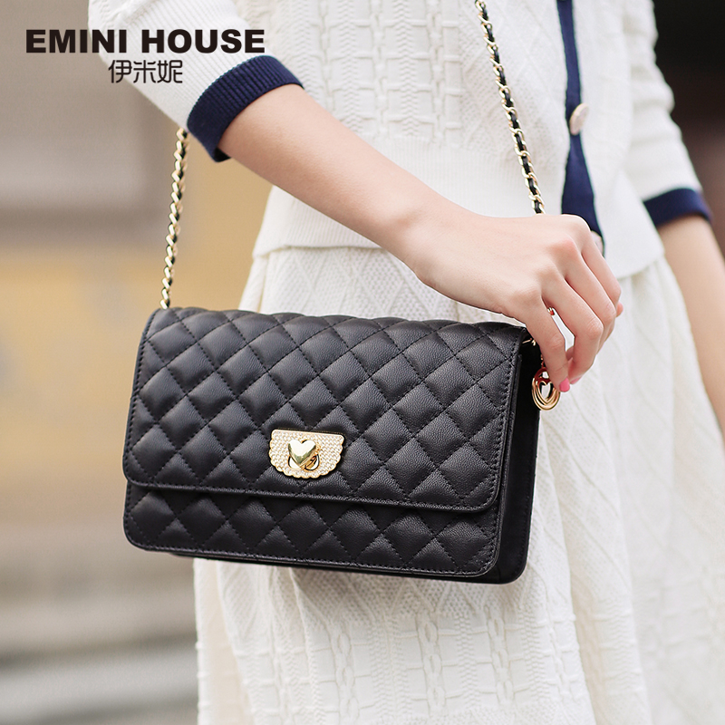 EMINI HOUSE Diamond Lattice Sheepskin Chain Bag Women Shoulder Bags Crossbody Bags For Women Genuine Leather Messenger Mini Bag women shoulder bag cossbody handbag genuine first layer of cow leather 2017 korean diamond lattice chain women messenger bag