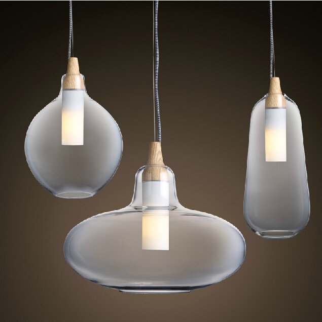 Modern Gl Pendant Light Natural Curved Transpa Lamp Wooden Head Hanging Lights Dining Room