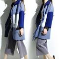 La Nueva Primavera de 2017 Del Cuerno Del Buey Botón de La Borla de Visón Cashmere Knitting Escudo Lapels Capa Femenina