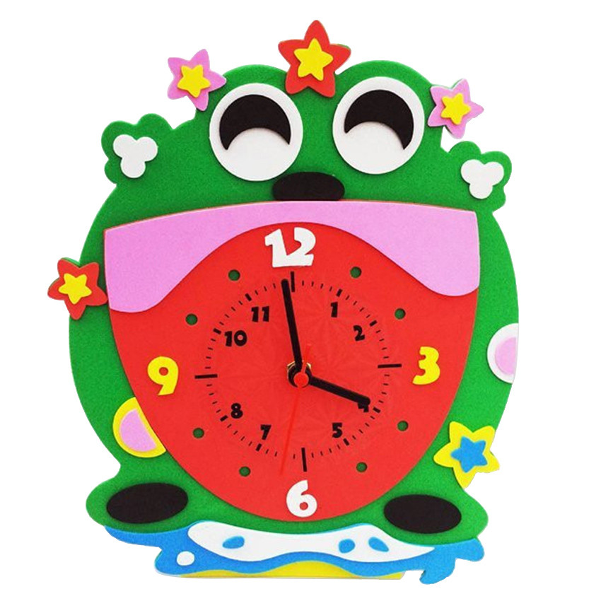 TOFOCO DIY Clock Toys EVA Arts Crafts Kits Kids Birthdays Educational Toy Clock Puzzle Toys For Children