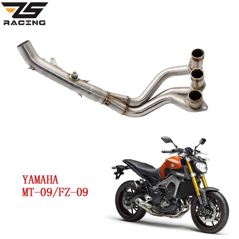 ZS Racing Motorcycle Exhaust Muffler Contact Middle Pipe Full System Slip On For YAMAHA MT-09 FT-09 MT09 FZ09 dirt bike racing motorcycle exhaust pipe middle muffler exhaust pipe for yamaha yzf r1 yzf r1 2009 2010 2011 2012 2013 2014