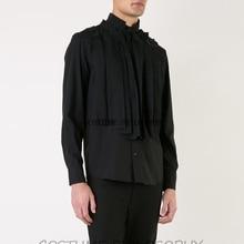 M-6XL! Модная мужская одежда больших размеров! дизайн мужской шерстяной край рубашки Новая темная серия мужской одежды