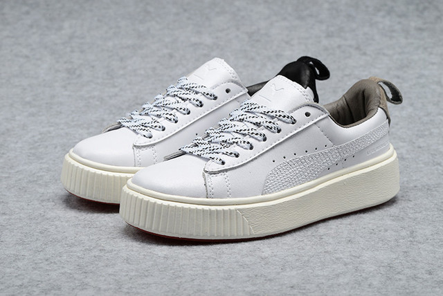 3db9b08b08cb 2018 New PUMA Women s Basket Platform Metallic Sneaker Rihanna classic  color tone simple Badminton Shoes Size 35.5-39
