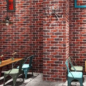 Image 1 - מותאם אישית 3D סטריאו רטרו חיקוי בריק טפט קפה בית קפה מסעדה בר אדום בריק טפט ביתי שיפור דקור