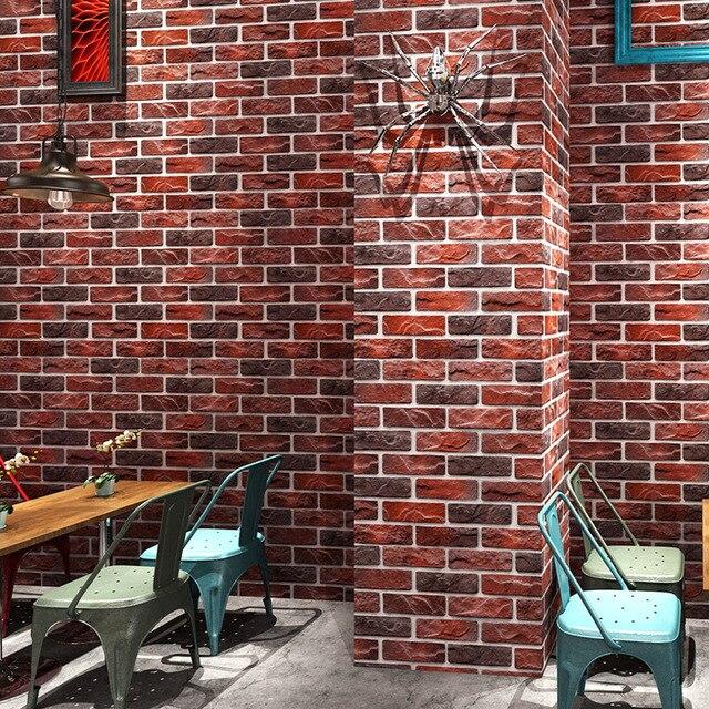 מותאם אישית 3D סטריאו רטרו חיקוי בריק טפט קפה בית קפה מסעדה בר אדום בריק טפט ביתי שיפור דקור