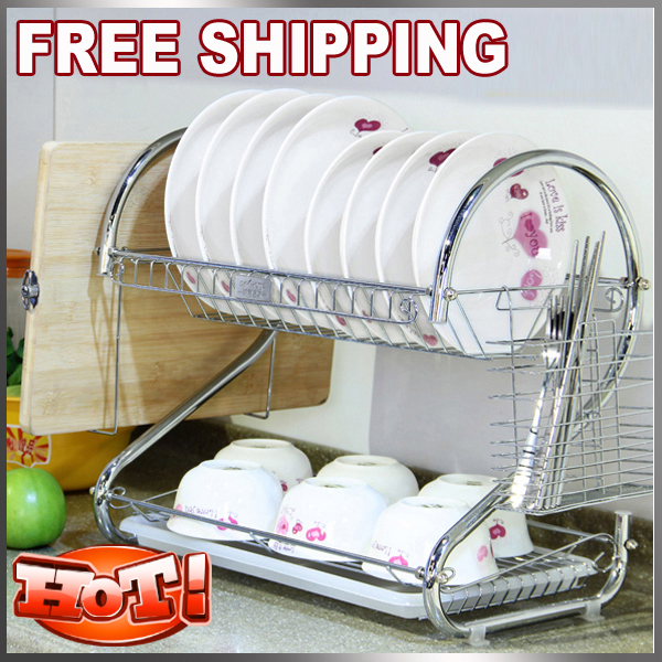 Fashion Useful Foldable Kitchen Stainless Steel Bowl And Dish Rack Tools  Double Layer Shelf Plate Rack