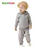 2PCS Kids Winter Autumn Baby Girl Boys Long Sleeve Knitting Children Striped Cute Hood Clothes Sets