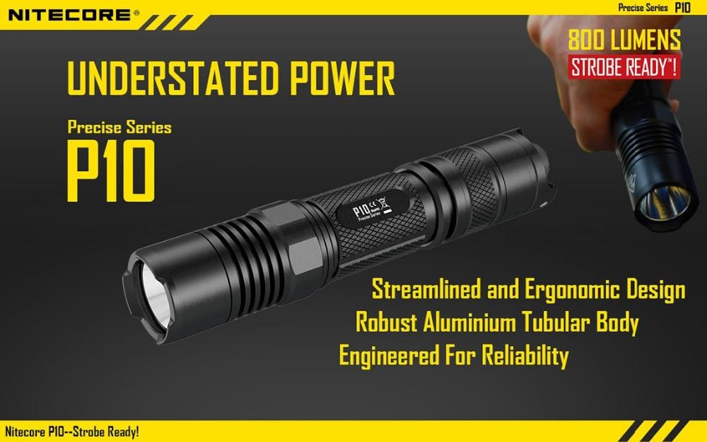 ФОТО Nitecore P10 Flashlight Cree XM-L2 LED 800 lumens tactical Flashlight by 18650 Battery Not Battery