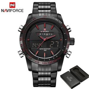 Image 2 - Relogio masculino יוקרה מותג NAVIFORCE גברים אופנה ספורט שעונים גברים של קוורץ הדיגיטלי אנלוגי שעון איש מלא פלדת שעון יד