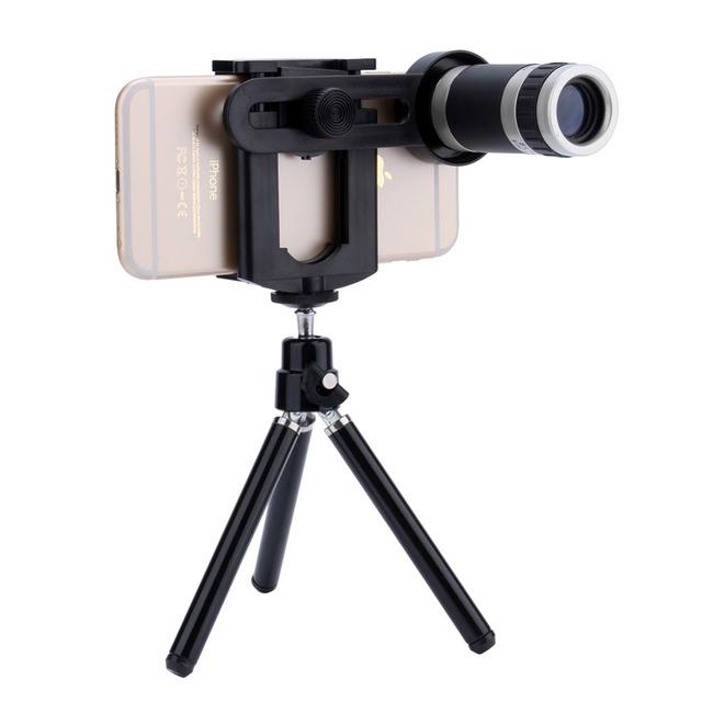 Universal telescopio del zumbido 8x lente de la cámara + teléfono móvil de montaje del soporte del trípode para iphone para samsung android teléfono superior calidad