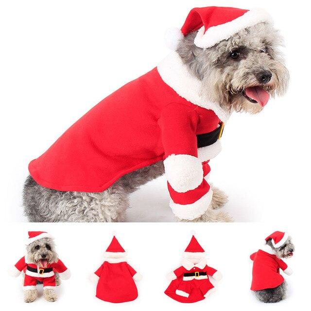 2018 Di Natale Del Cane Da Compagnia Costume Cappotto con Cappuccio di  Santa Con Cappuccio Vestiti 6490efb80b7a