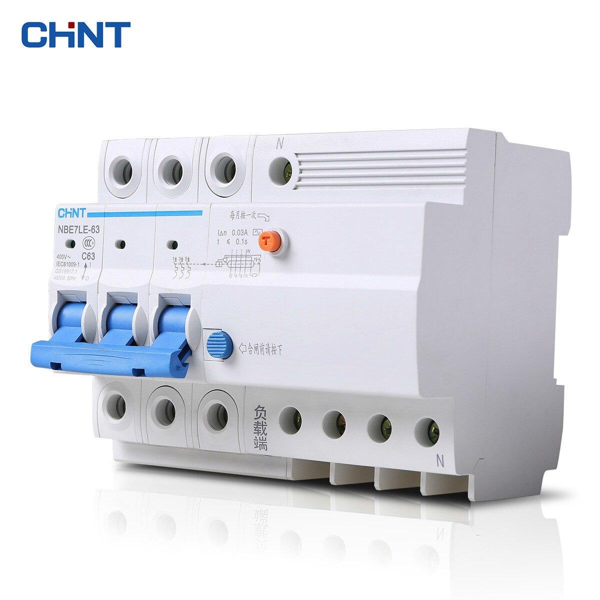 CHNT CHINT protecteur de fuite NBE7LE 3 P + N 16A 20A 25A 32A 40A 63A petit disjoncteur interrupteur d'air
