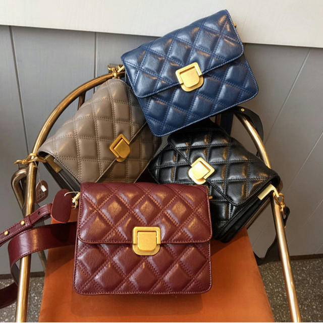 2019 New Women Diamond Lattice Handbags Genuine Leather Cow Leather Bag Lady Shoulder Crossbody Messenger Bags  Flap