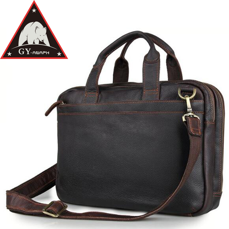 ANAPH Full Grain Leather Business Briefcases For Men/ Messenger Bags Attache 15 Inch Laptop Case/ Top Quality Tote Bag Chocolate anaph 15 inch laptop briefcase men office work bags brown real cow leather top quality tote bag man double zippers open