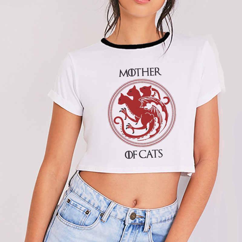 Thời Trang mới Mẹ Của Mèo Nữ Áo THUN Nữ Ngộ Nghĩnh Gợi Cảm Áo Thun Áo Thun Bông Tai Kẹp Tee Ngắn Tay Ôm Nữ Crop đầu Plus Kích Thước