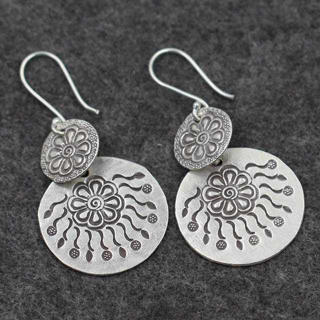 new S925 Sterling Silver Earrings Thailand folk style exaggerated retro Ms. Chiang Mai handmade silver wholesale