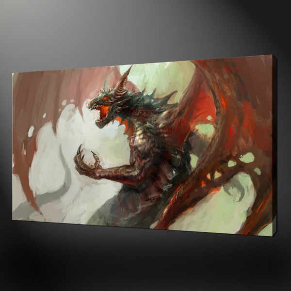 RED MEDIEVAL DRAGON FANTASY TOP Art Oil Painting  Handpainted Good Art  Painting # TOP HOME