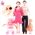 UCanaan New Design5 People Dolls Suits 1 Mom /1 Dad /2 Little Kelly Girl /1 Baby Son/1 Baby Carriage Real Pregnant Doll Gifts