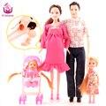Ucanaan nueva design5 personas muñecas trajes 1 mamá/1 papá/2 poco Kelly Chica/1 Bebé Hijo/1 Carro de Bebé Real Muñeca Embarazada regalos