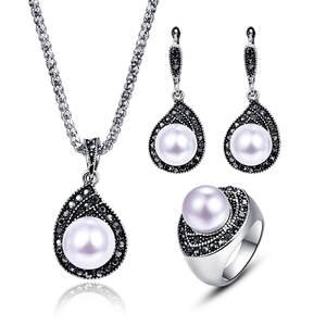 tshou178 vintage pearl black crystal necklace earrings ring