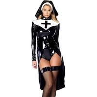 M L XL Fashion Black Women Nun Vinyl Leather Cosplay Halloween Costume W850640