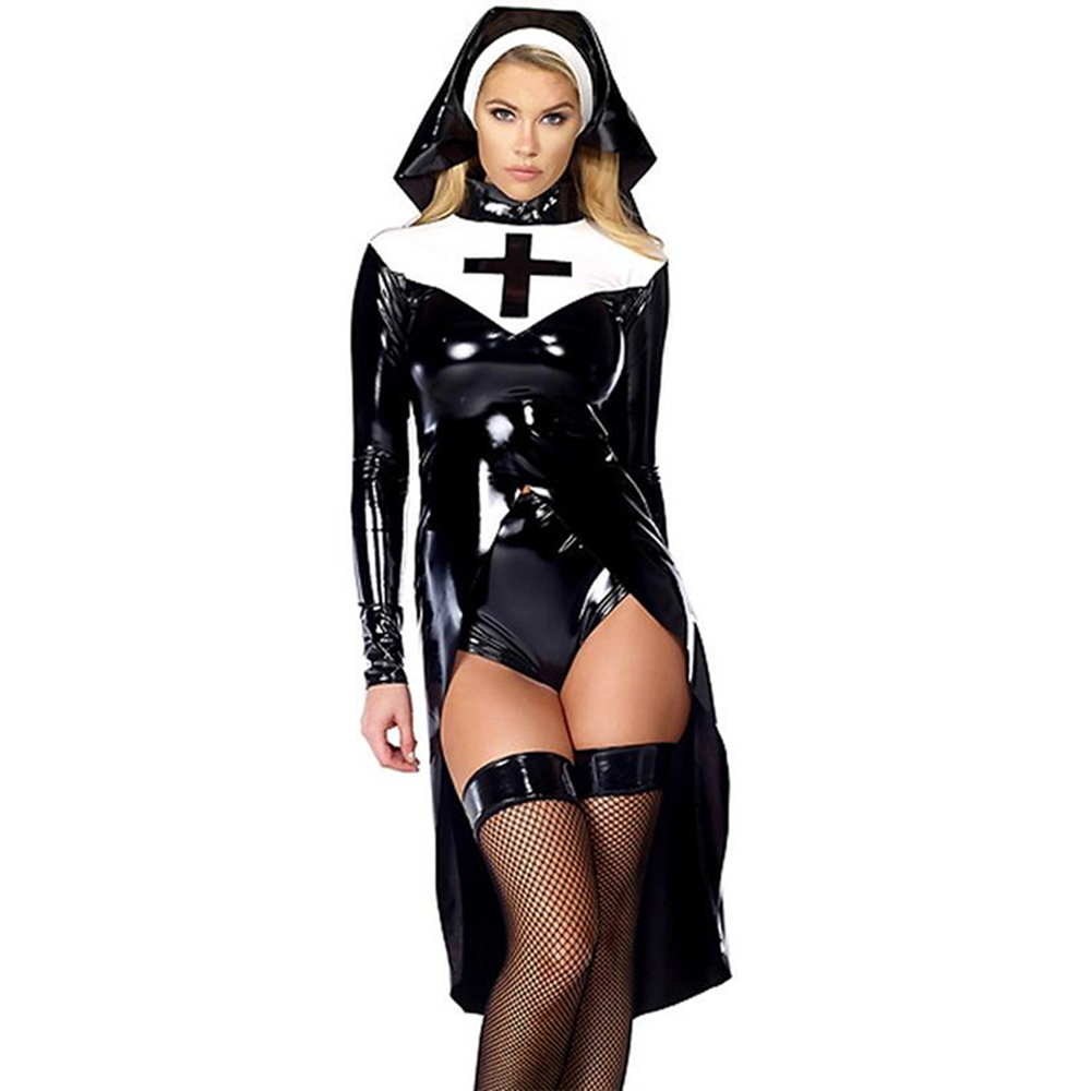 Halloween cosplay M, L, XL Moda nero donne sexy suora costume in pelle in vinile Cosplay Costume di Halloween W850640