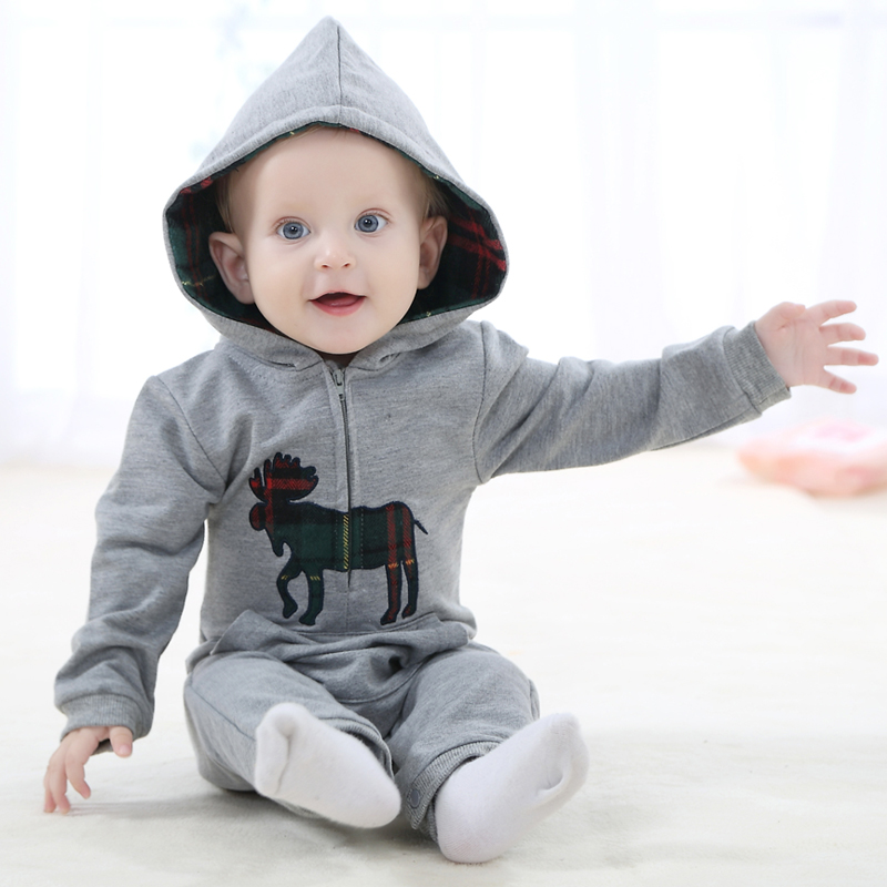 Newborn Romper Fashion Baby Clothes Long Sleeve Hooded Cotton Baby Costume Autumn Sprint Rompers