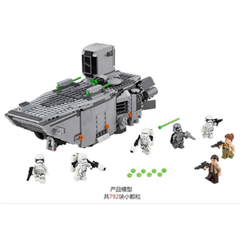 845pcs Diy Star War First Order Transporter Block Set Stormtroopers Captain Phasma Compatible with Legoingly Toy For Children lepin 05003 star wars first order transporter building block 845pcs diy educational toys for children compatible legoe