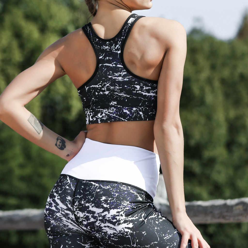 Sujetador deportivo acolchado Sujetador push up 2019 señoras impreso de secado rápido deportes correr Sexy hermoso BackTight Yoga Tops conjunto femme
