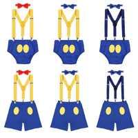 3 предмета в комплекте, «Дональд Дак» для маленьких мальчиков и девочек 1st День рождения костюм для Cake Smash шорты на подтяжках, с бантом, для ма...