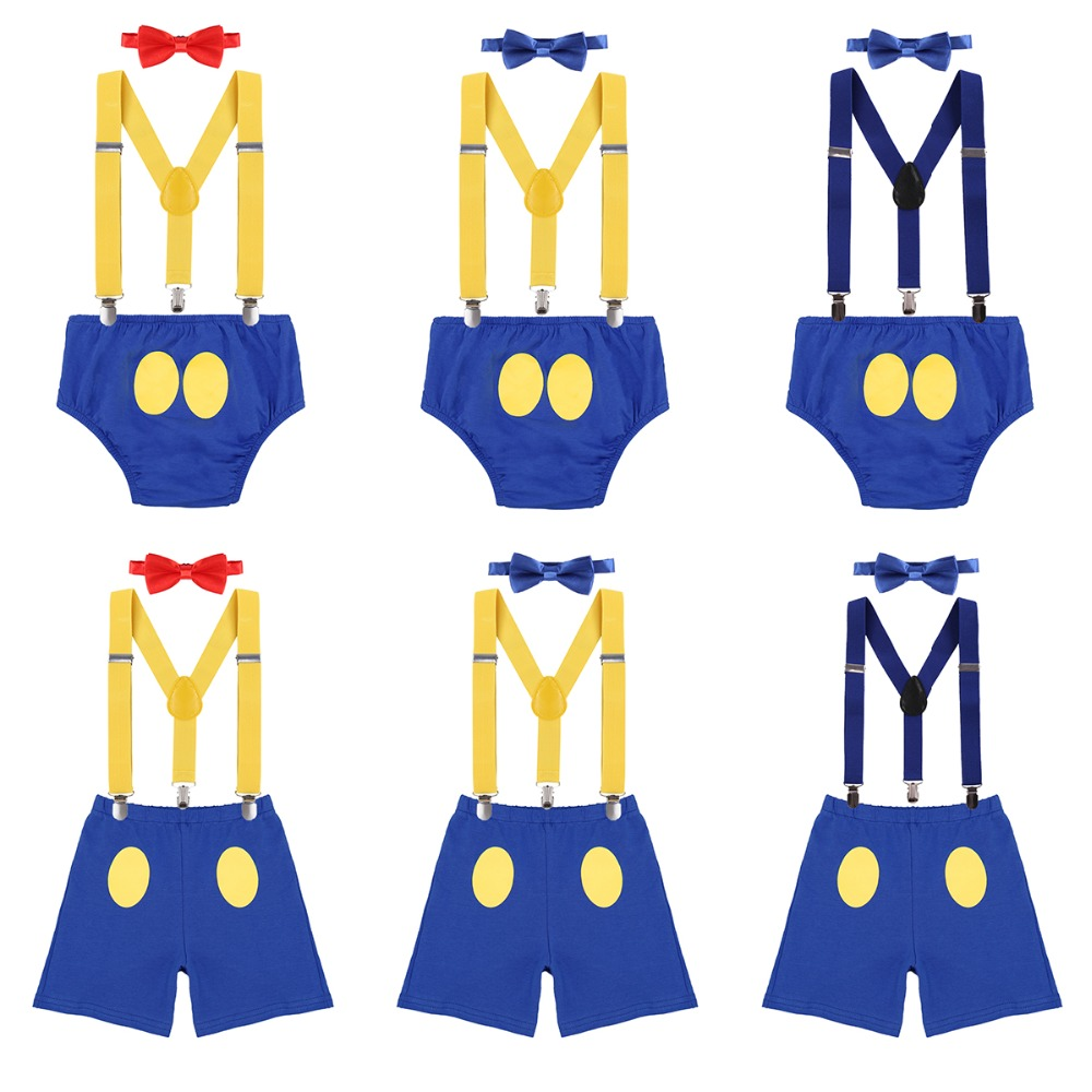 3 pçs conjunto pato donald bebê menina do menino 1st festa de aniversário bolo quebra roupa suspender shorts bowtie bebê menino roupas para sessão de fotos