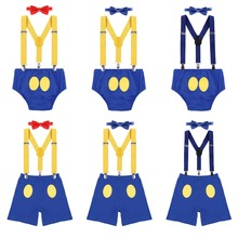 3pcs Set Donald Duck Baby Boy Girl 1st Birthday Party Cake Smash Outfit Suspender Shorts Bowtie Clothes for Photo shoot