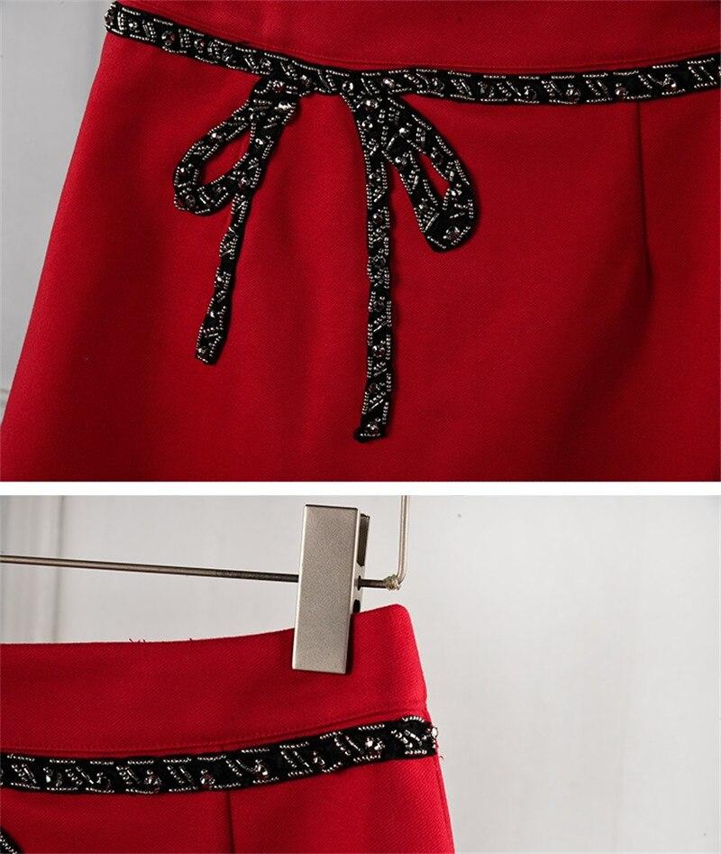 F169 Rojo Faldas Línea Rojas Cuentas Con Calidad Mini Lujo Diseñador Marca Invierno Alta Lazo Falda Pasarela De Otoño Mujer Femenina A qHwzzR