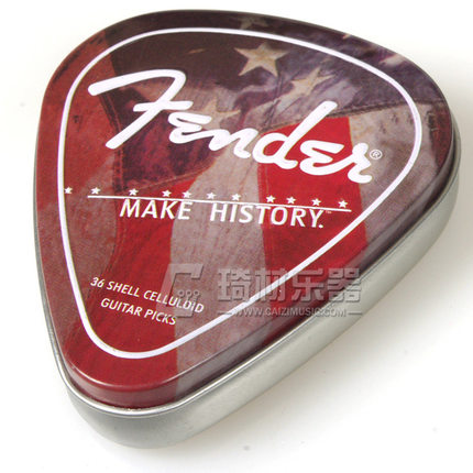Fender Collectible Make History Pick Vintage Tin Box - 36 Shell Celluloid Guitar Picks Plectra Mediators